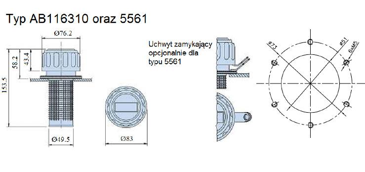 filtry wlewowe z odpowietrzeniem typ AB116310 oraz 5561